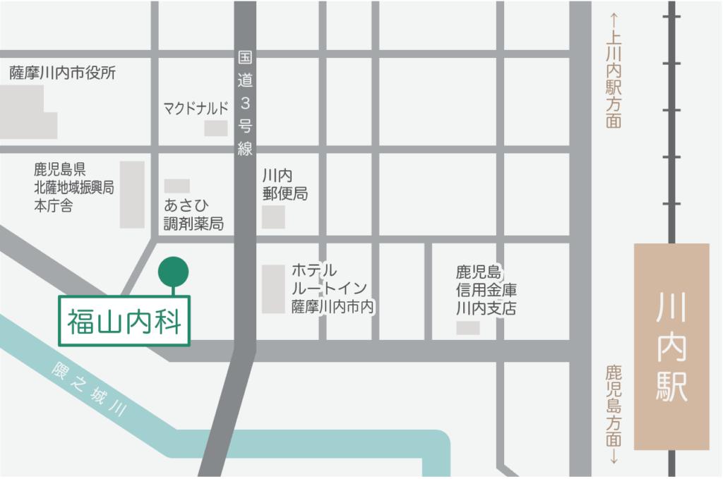 鹿児島県薩摩川内市、福山内科の地図